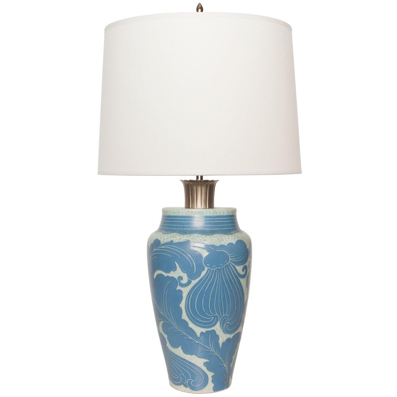 Josef Ekberg Lamp for Gustavsberg with Leaf Motif and Nickel Details