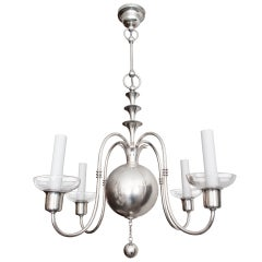 Swedish Art Deco silver chandelier Elis Bergh for C. G. Hallberg, Stockholm.