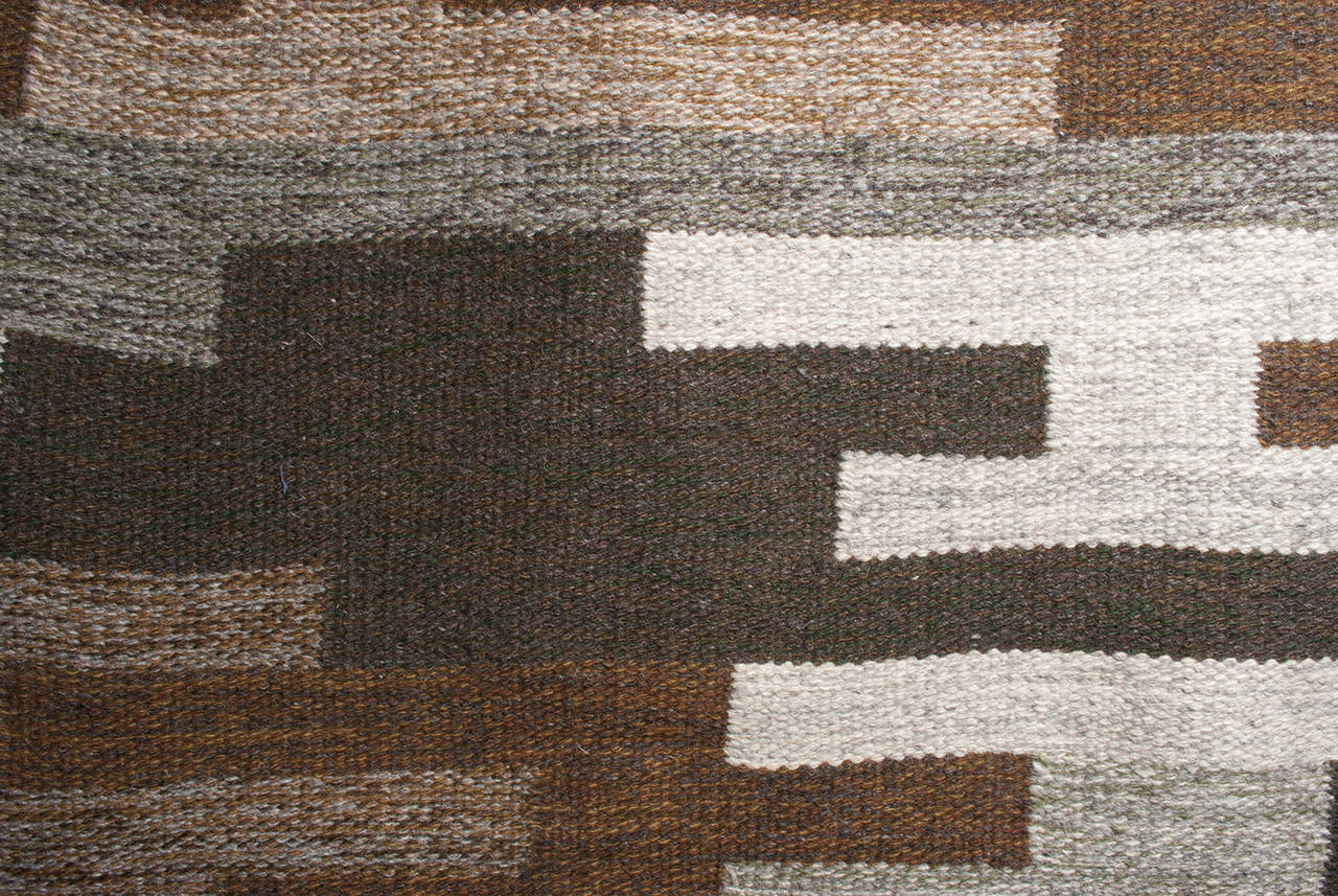 Scandinavian Modern Flat Weave Wool Rug In Heathered Browns Grays And Tan 3