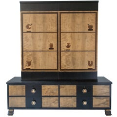 Swedish Art Deco Marquetry 2-part Cabinet by Otto Schulz for Boet