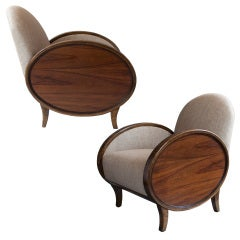 Pair of Swedish Art Deco Bergeres with oval rosewood panels.