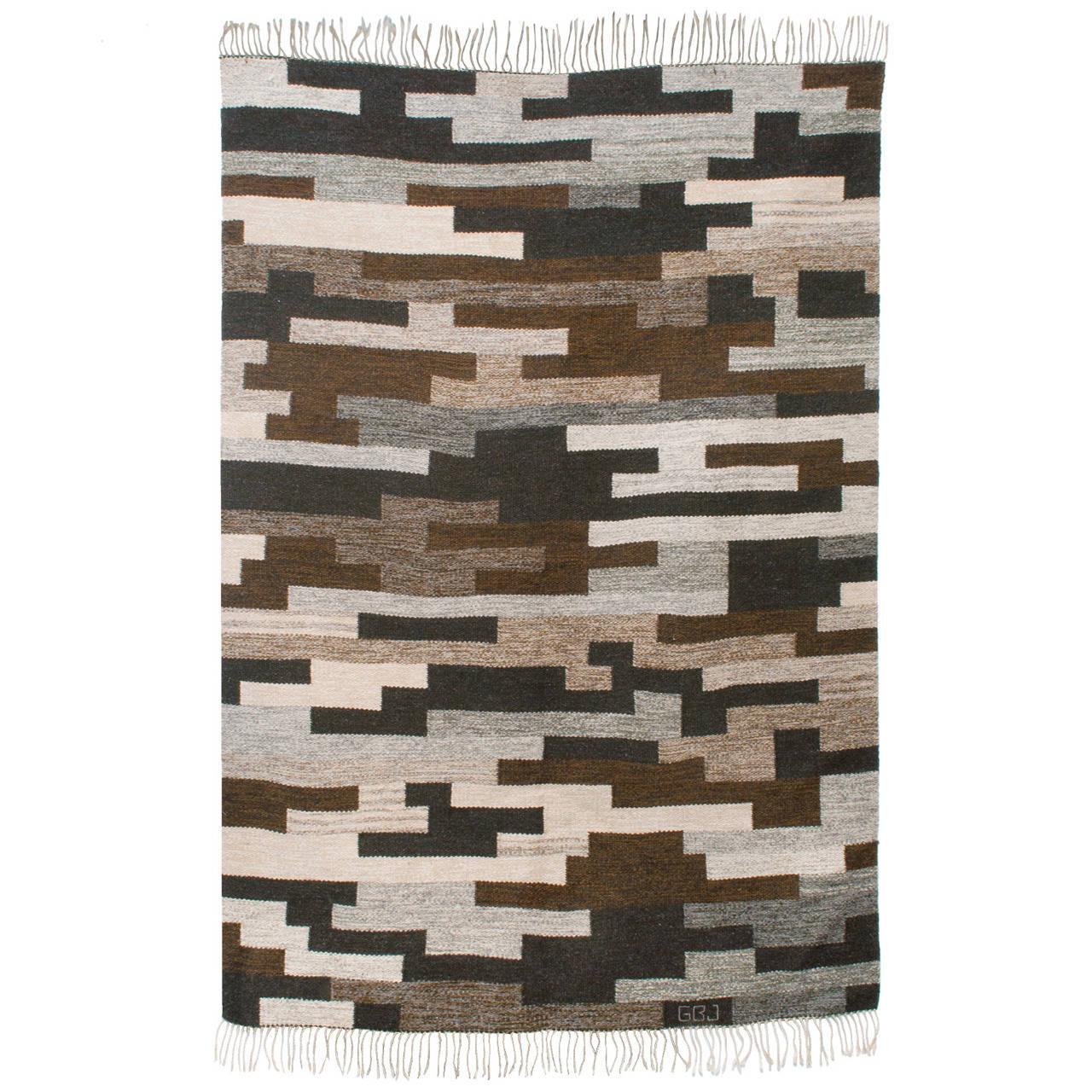 Modern Scandinavian Rug: Scandinavian Modern Flat-Weave Wool Rug In Heathered