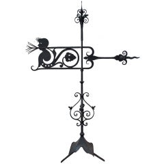 Swedish Hand Wrought Iron Early 20th Century Weather Vane With Figure