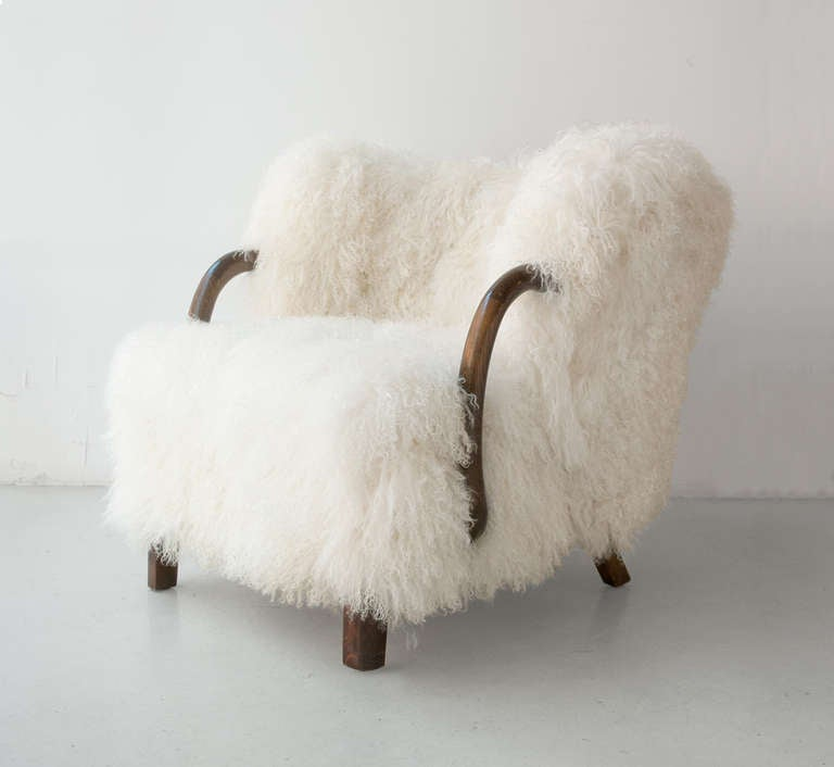 Danish Art Deco Armchair with Mongolian Lamb Fur, Attributed to Viggo Boesen 2