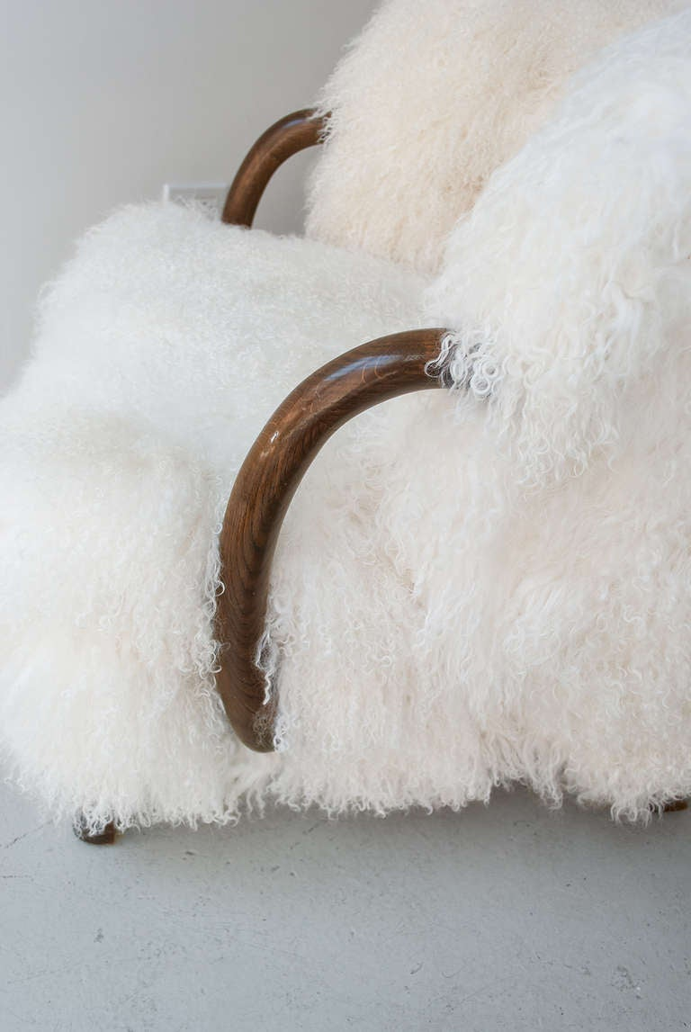 Danish Art Deco Armchair with Mongolian Lamb Fur, Attributed to Viggo Boesen 6