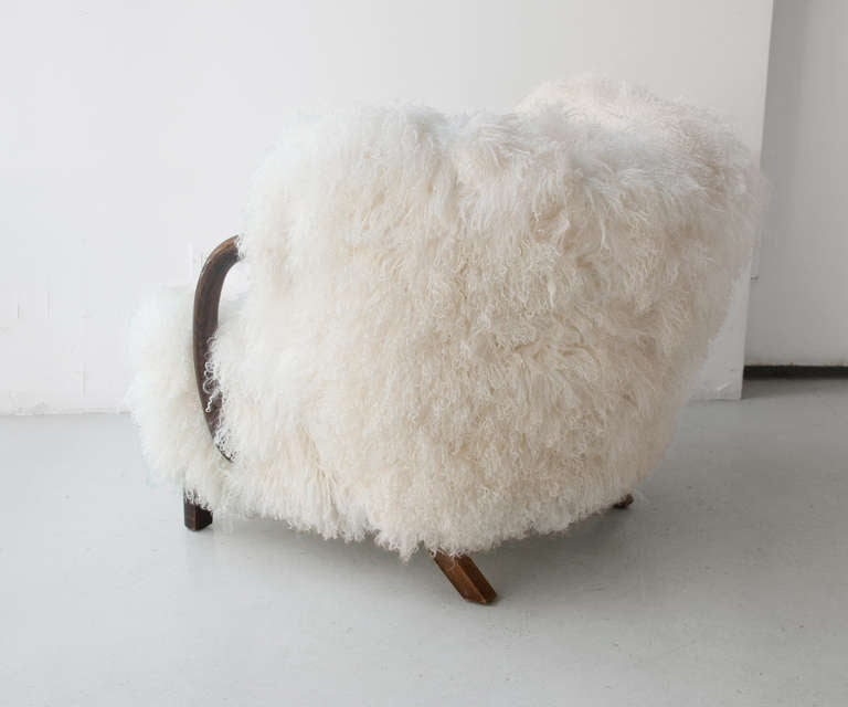 Danish Art Deco Armchair with Mongolian Lamb Fur, Attributed to Viggo Boesen 3