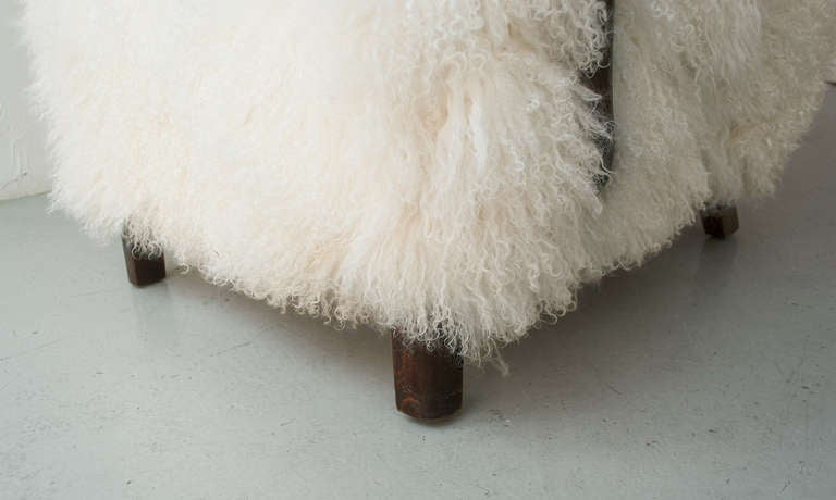 Danish Art Deco Armchair with Mongolian Lamb Fur, Attributed to Viggo Boesen 7