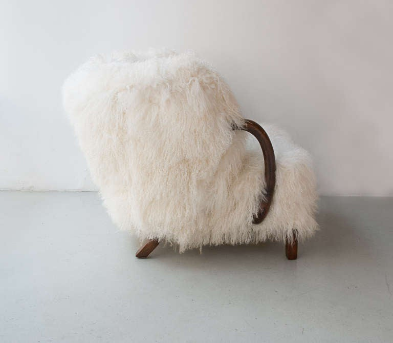 Danish Art Deco Armchair with Mongolian Lamb Fur, Attributed to Viggo Boesen 5