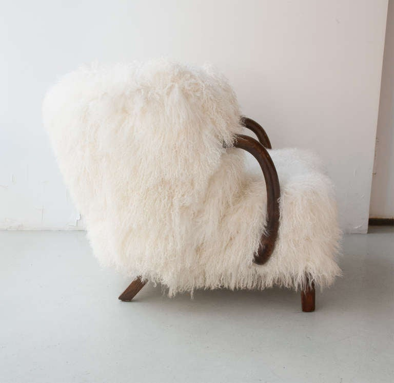 Danish Art Deco Armchair with Mongolian Lamb Fur, Attributed to Viggo Boesen 4