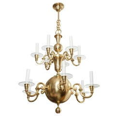 Large Swedish Art Deco Twelve-Arm Chandelier Elis Bergh for C.G. Hallberg