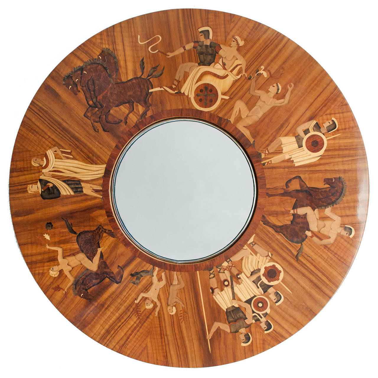 Swedish Art Deco Marquetry Wall Mirror by Mjolby Intarsia