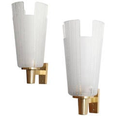 Large Pair of Scandinavian Modern Etched Glass and Brass Sconces Orrefors