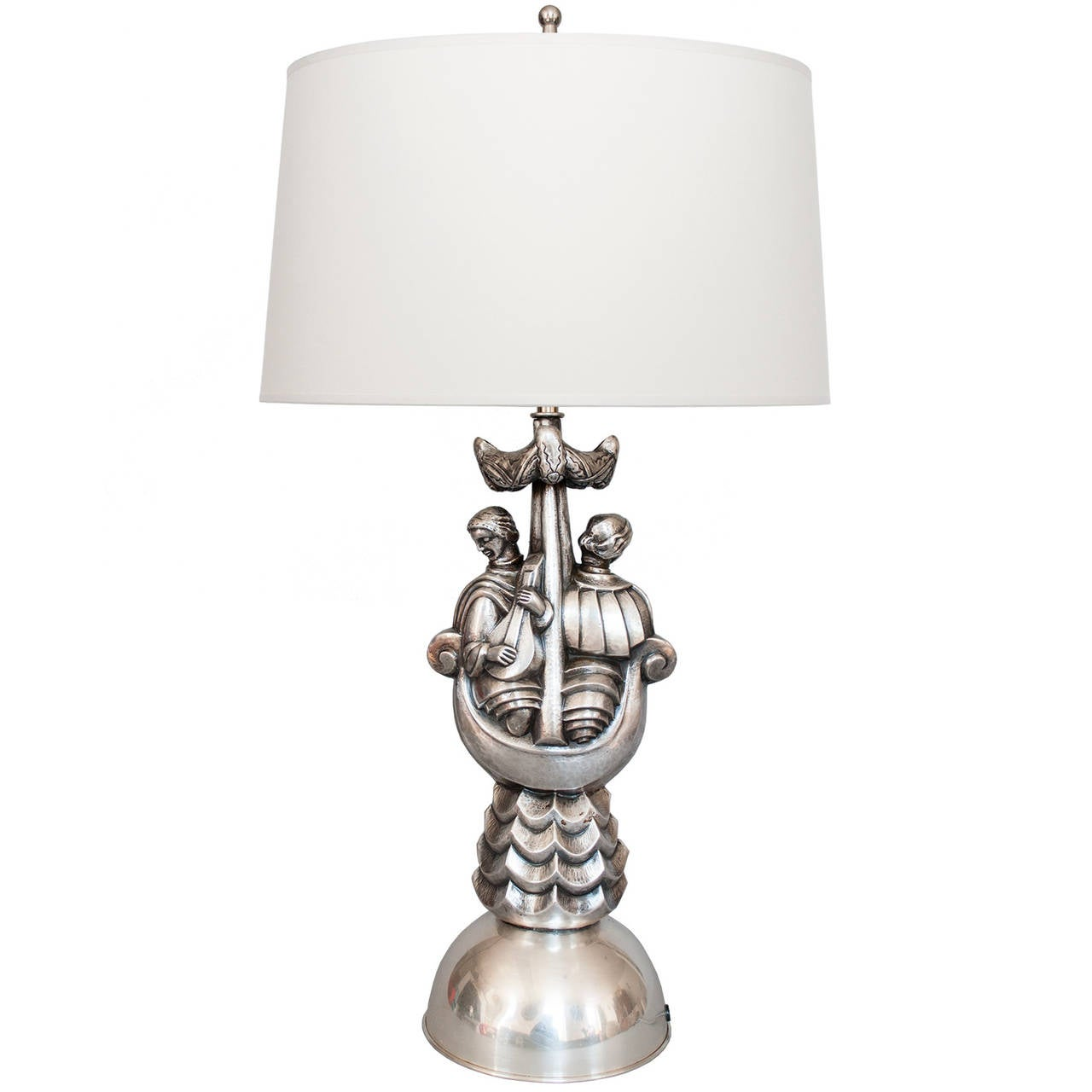 Swedish Art Deco Silver Plate Table Lamp With Silk Shade