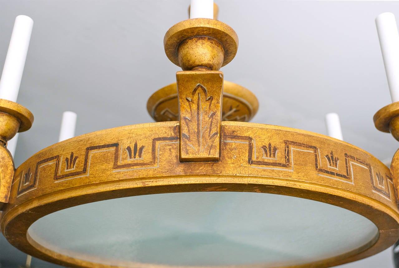 swedish art deco gold wood trompe l 39 oeil 6 arm chandelier. Black Bedroom Furniture Sets. Home Design Ideas