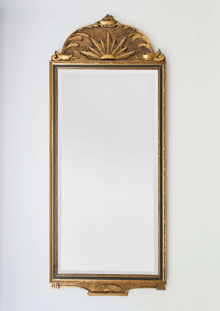 Gilt wood Swedish Art Deco mirror with sunburst and oil lamp motif ...