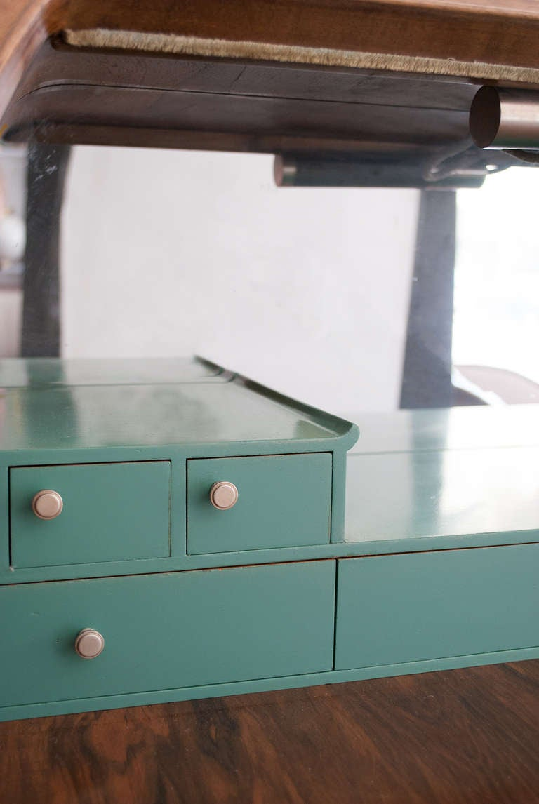 Swedish Art Deco Walnut Veneered Drop Front Secretary Cabinet by Erik Chambert For Sale 6