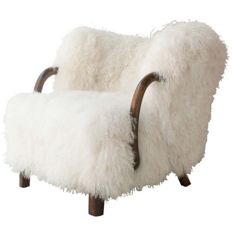 Danish Art Deco Armchair with Mongolian Lamb Fur, Attributed to Viggo Boesen 1