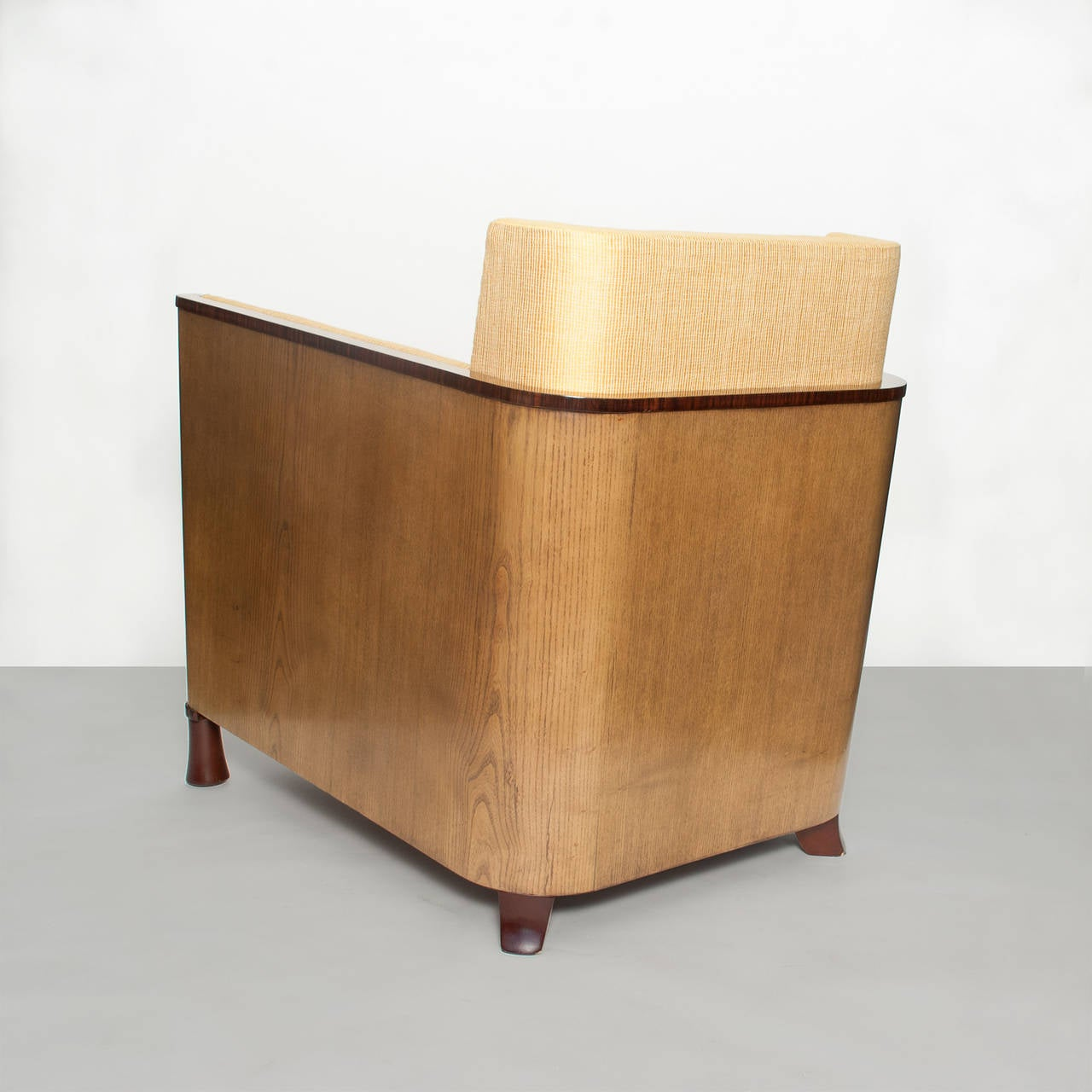 Upholstery Scandinavian Modern Swedish Art Deco Lounge Chair with Veneered Sides and Back For Sale
