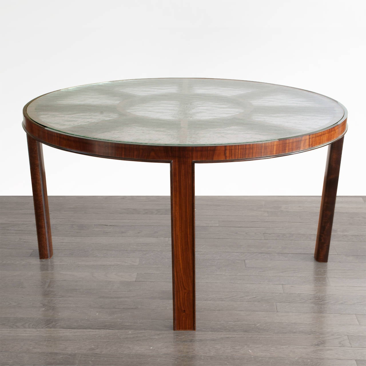 swedish art deco rosewood coffee table original textured glass at 1stdibs. Black Bedroom Furniture Sets. Home Design Ideas