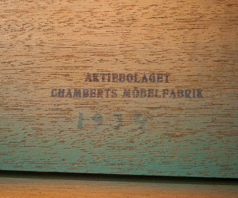 Swedish Art Deco Walnut Veneered Drop Front Secretary Cabinet by Erik Chambert For Sale 9