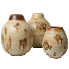 Gertrud Lonegren Group of Three Ceramic Vases with Fish Motif for Rorstrand