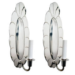 Pair of Swedish Art Deco Silver Plated Sconces by Jacob Angman for GAB