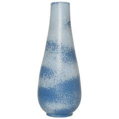 Scandinavian Modern Ceramic Vase in Light and Dark Blue by Gunnar Nylund