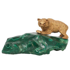 Russian Gilded Bronze Bear Cub Sculpture on a Sold Piece of Malachite