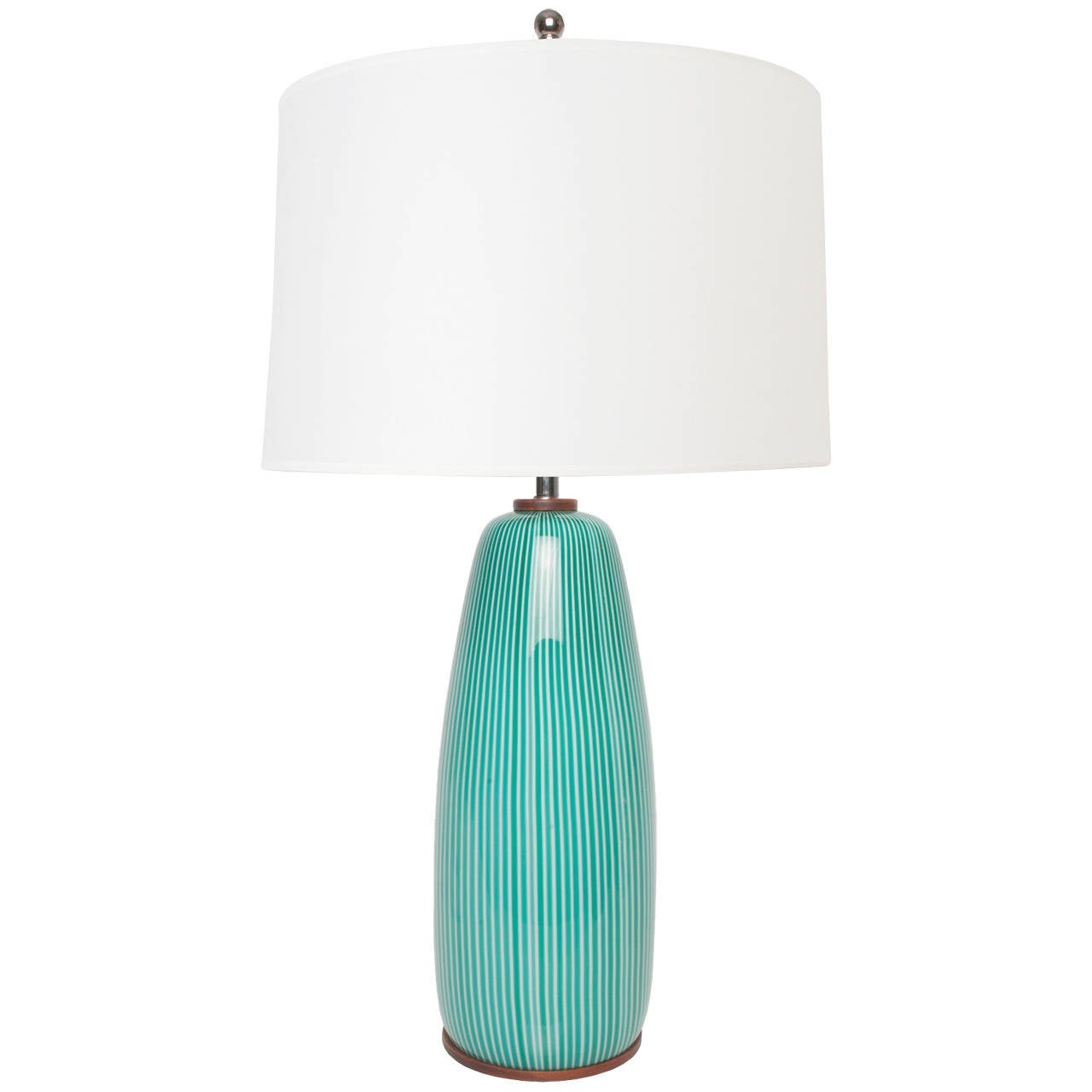 Venini Mid Century Striped Torquoise Glass Table Lamp With Wood Base 1