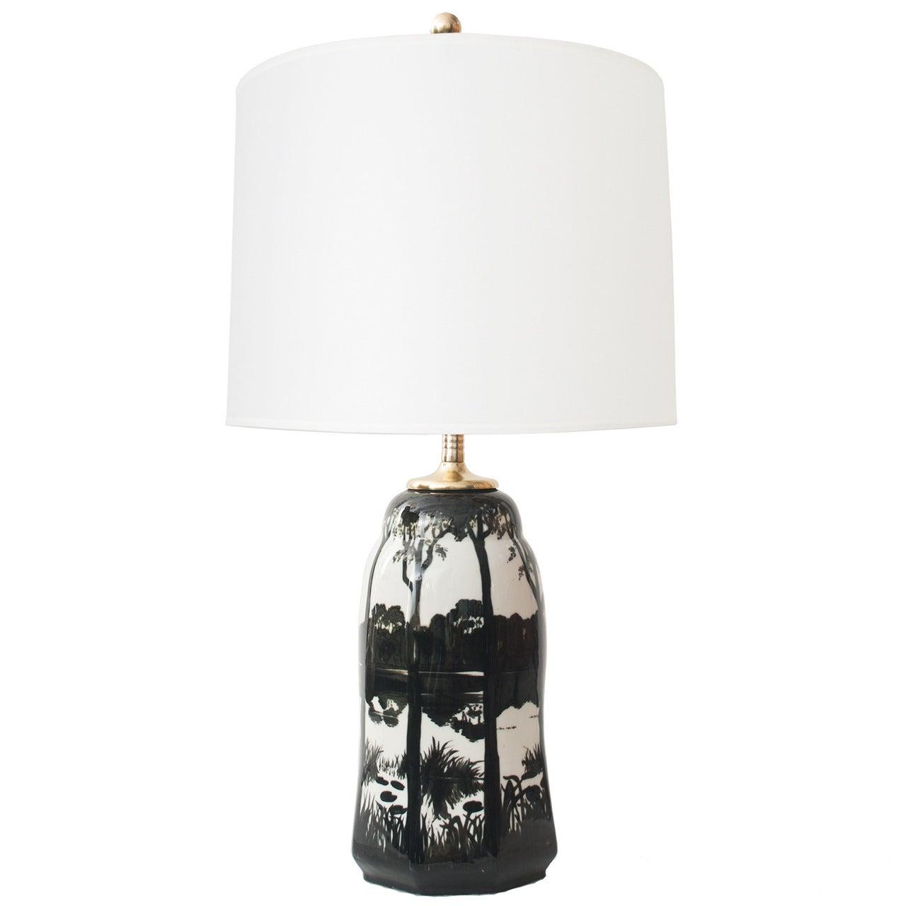 Swedish Ceramic Table Lamp by Knut Hallgren for ALP Lidköping