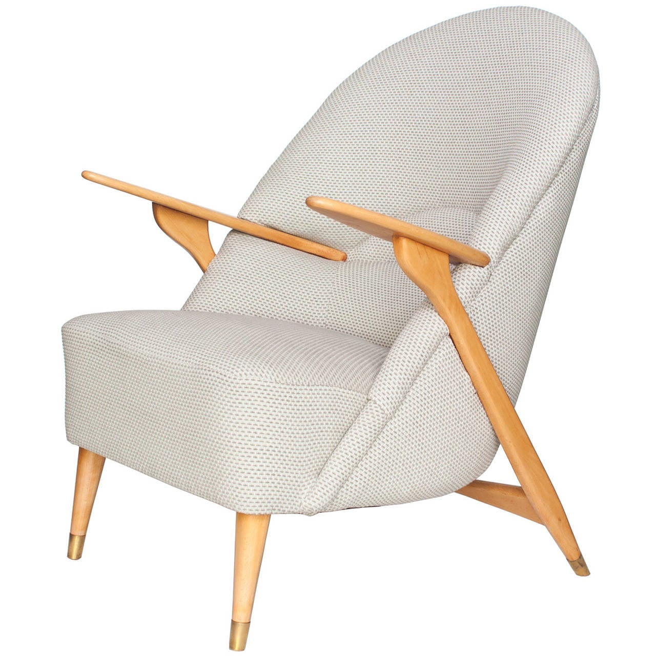 Danish Designer Mid Century Lounge Chair With Beechwood Frame At 1stdibs