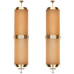 Pair of Large Swedish Art Deco Brass and Etched Glass Sconces