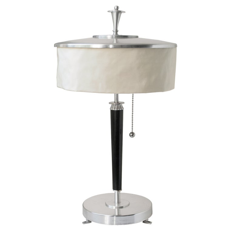 swedish art deco silver plate table lamp with silk shade 1920 39 s at. Black Bedroom Furniture Sets. Home Design Ideas