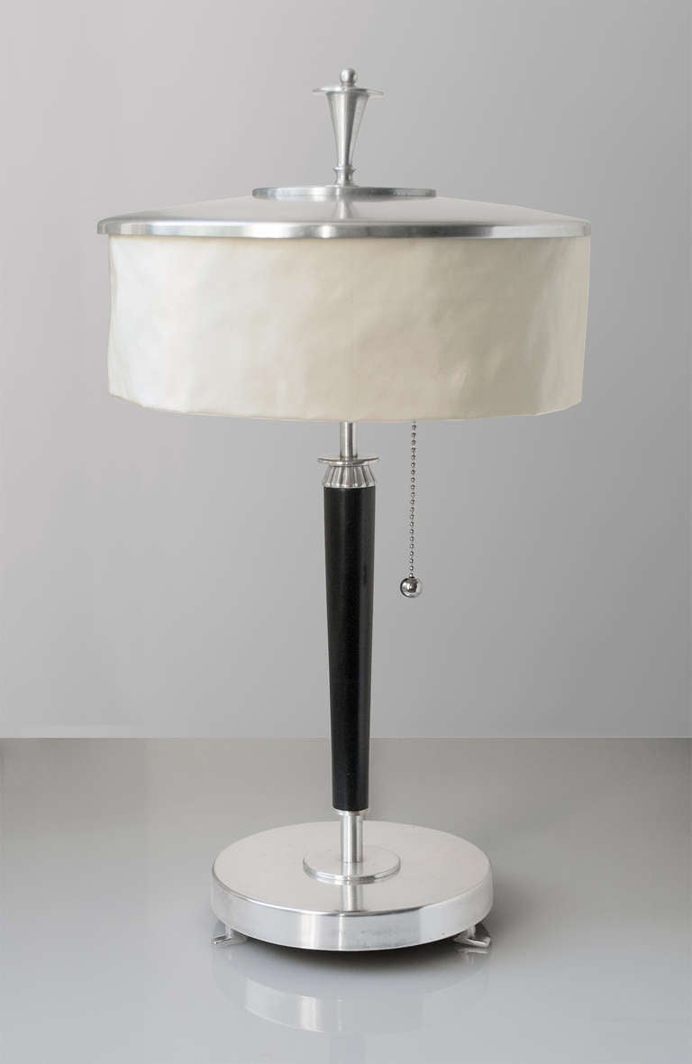 swedish art deco silver plate table lamp with silk shade 1920 39 s image. Black Bedroom Furniture Sets. Home Design Ideas