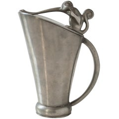 Swedish Art Deco Pewter Pitcher From Gab with Monkey, 1933
