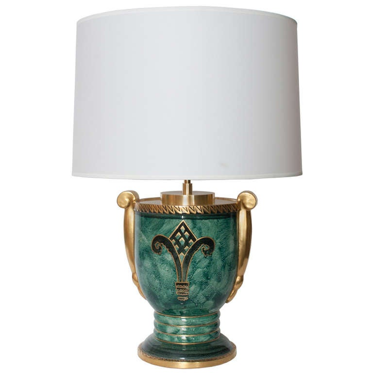 Scandinavian Modern Lamp in Luster Glaze and Hand-Decorated in Gold For Sale
