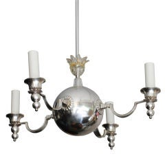 Swedish Art Deco 4-arm chandelier with glass crown.