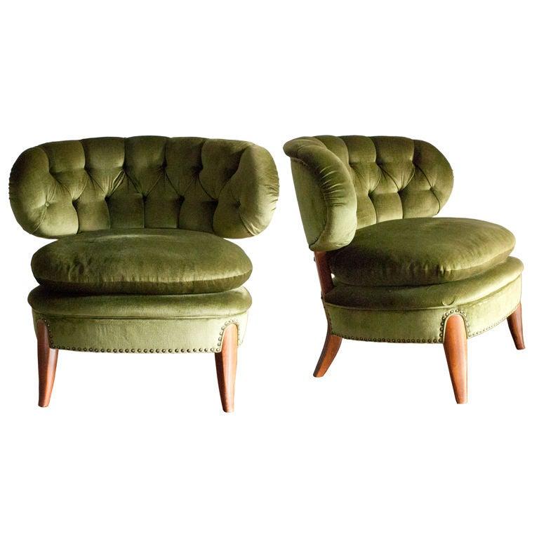 Pair of Swedish mid-century slipper chairs Otto Schultz
