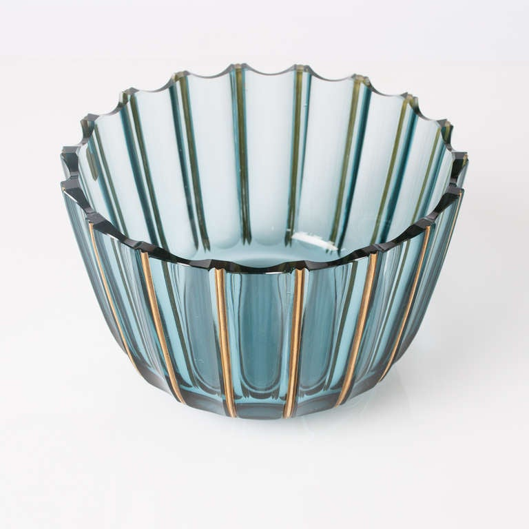 Swedish Art Deco Glass Bowl By Elis Bergh For Kosta Signed At 1stdibs