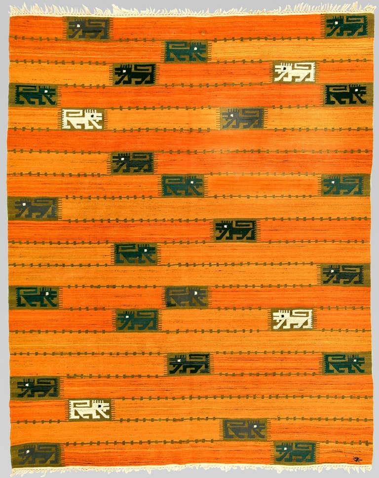 Scandinavian modern flat weave rug stylized lions for sale at 1stdibs - Deco moderne flat ...