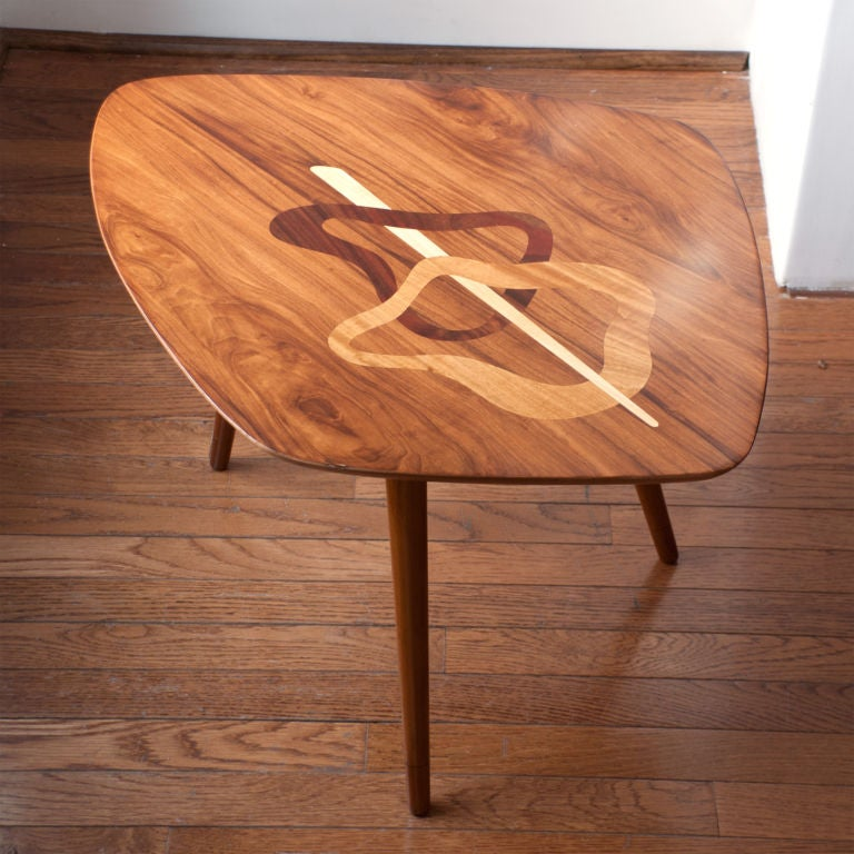 Swedish Mid Century Occasional Table With Exotic Wood Marquetry For Sale At 1stdibs