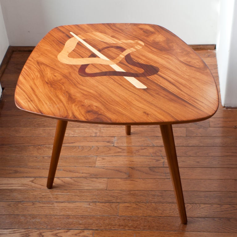 Swedish Mid Century Occasional Table With Exotic Wood Marquetry At 1stdibs