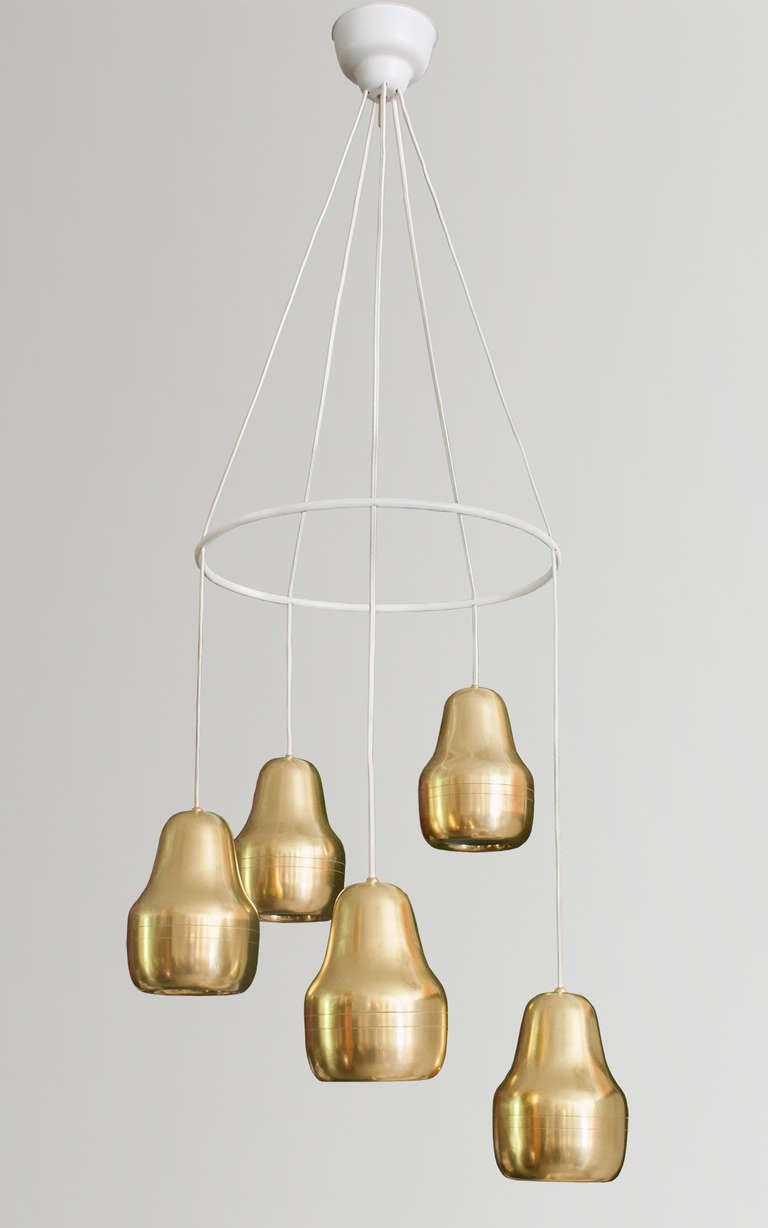 large scandinavian modern chandelier with  brass pendant lamps at  - large scandinavian modern chandelier with  brass pendant lamps