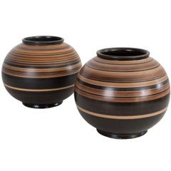 Pair of Scandinavian Modern Ceramic Vases by Jerk Werkmaster for Nittsjo