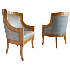 Carl Bergsten Swedish Art Deco chairs from M/S Kungsholm 1928