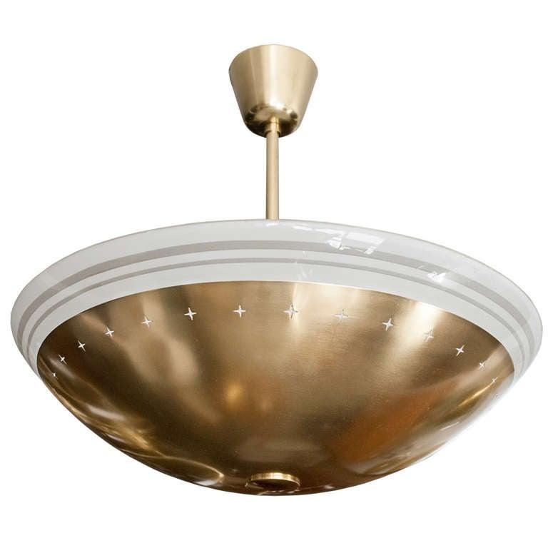 Scandinavian Modern Brass And Glass Ceiling Fixture At