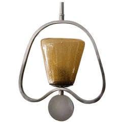 Swedish Art Deco pendant lantern fixture chrome plated metal.