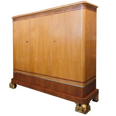 Fantastic Swedish Art Deco 3-Door Cabinet by Carl Bergsten
