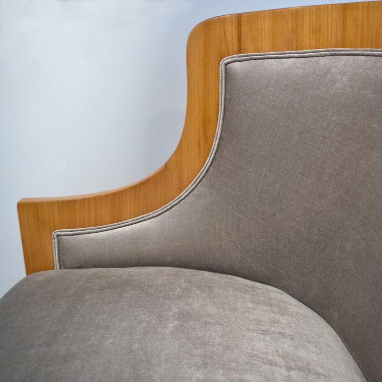 Velvet Carl Bergsten Swedish Art Deco sofa from M/S Kungsholm 1928
