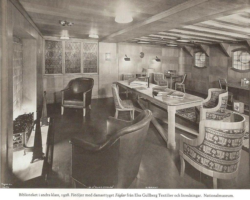 Carl Bergsten Swedish Art Deco sofa from M/S Kungsholm 1928 2